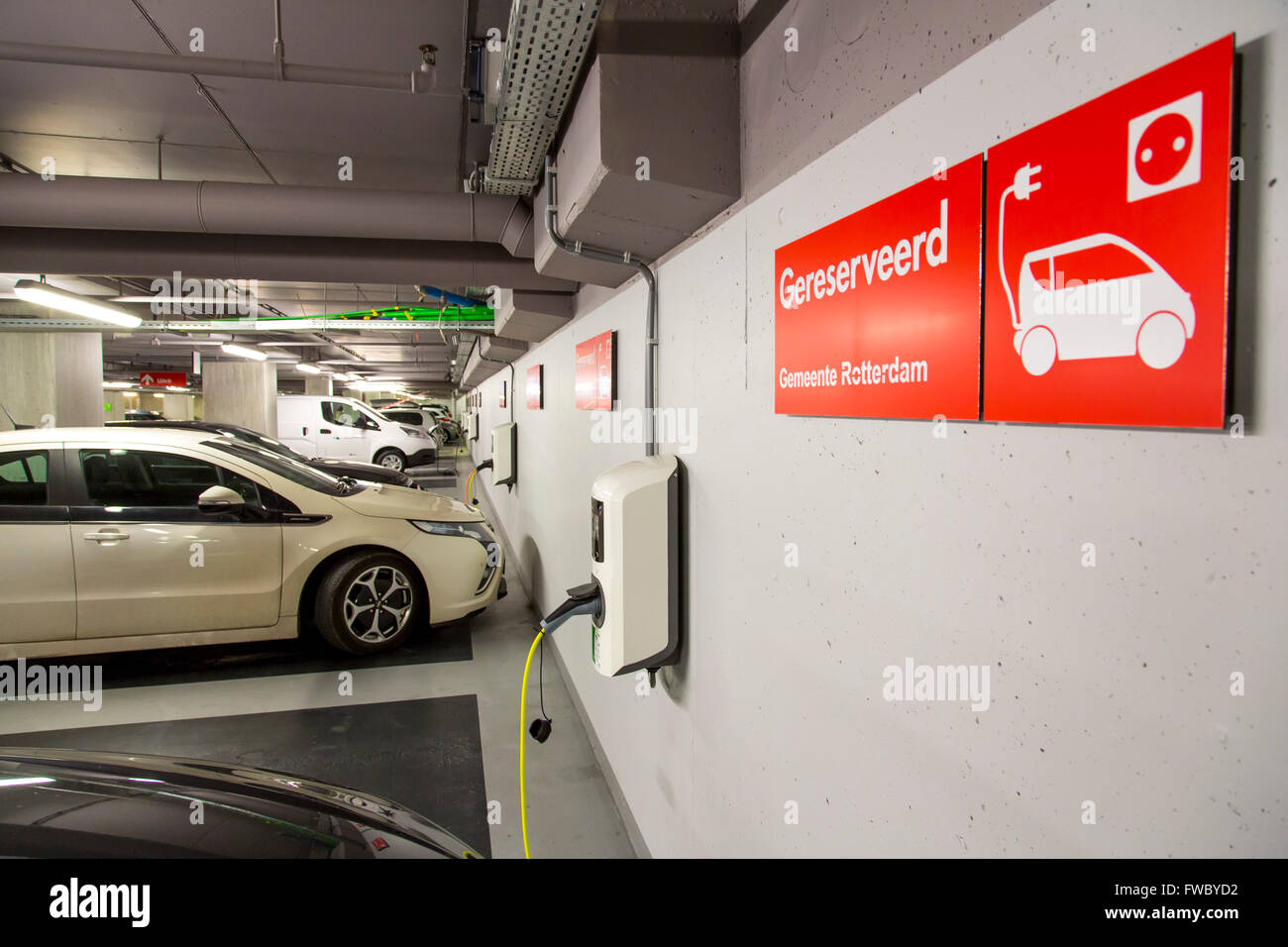Charging Station For Electric Cars In A Public Parking Garage