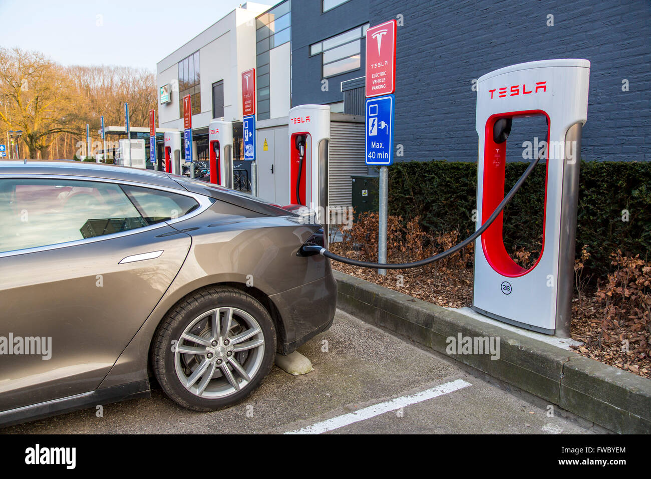 Tesla Motors Electric Car Charging Station In Eindhoven The