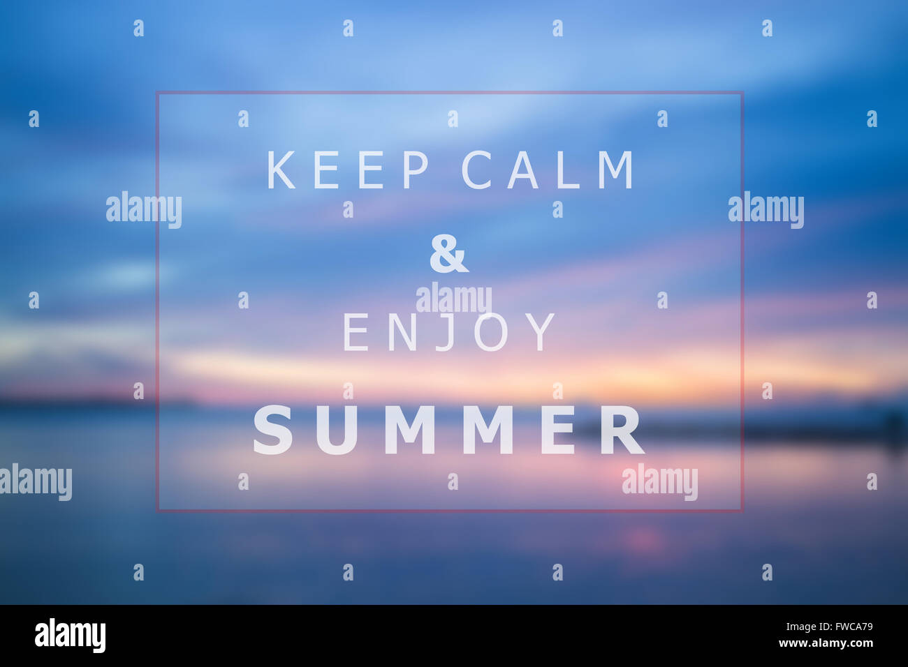 Keep Calm And Enjoy Summer Quote Poster Background Design, Stock Photo
