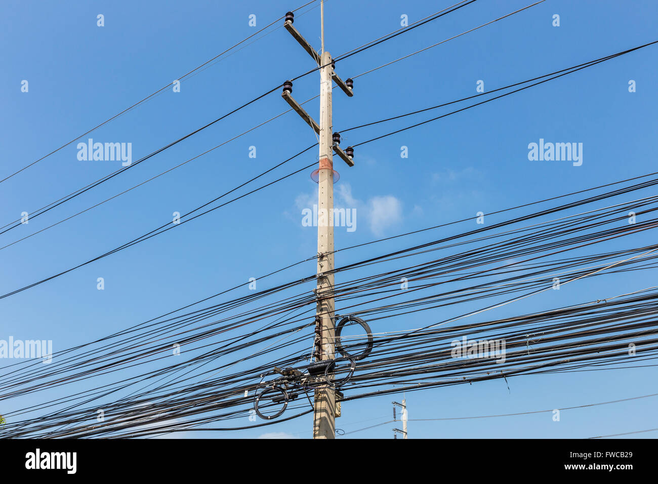 Electrical Wires On Power Pole Thailand