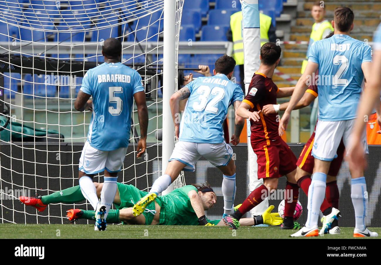 Rome Italy 03rd Apr 2016 Lazio s goalkeeper Federico Marchetti