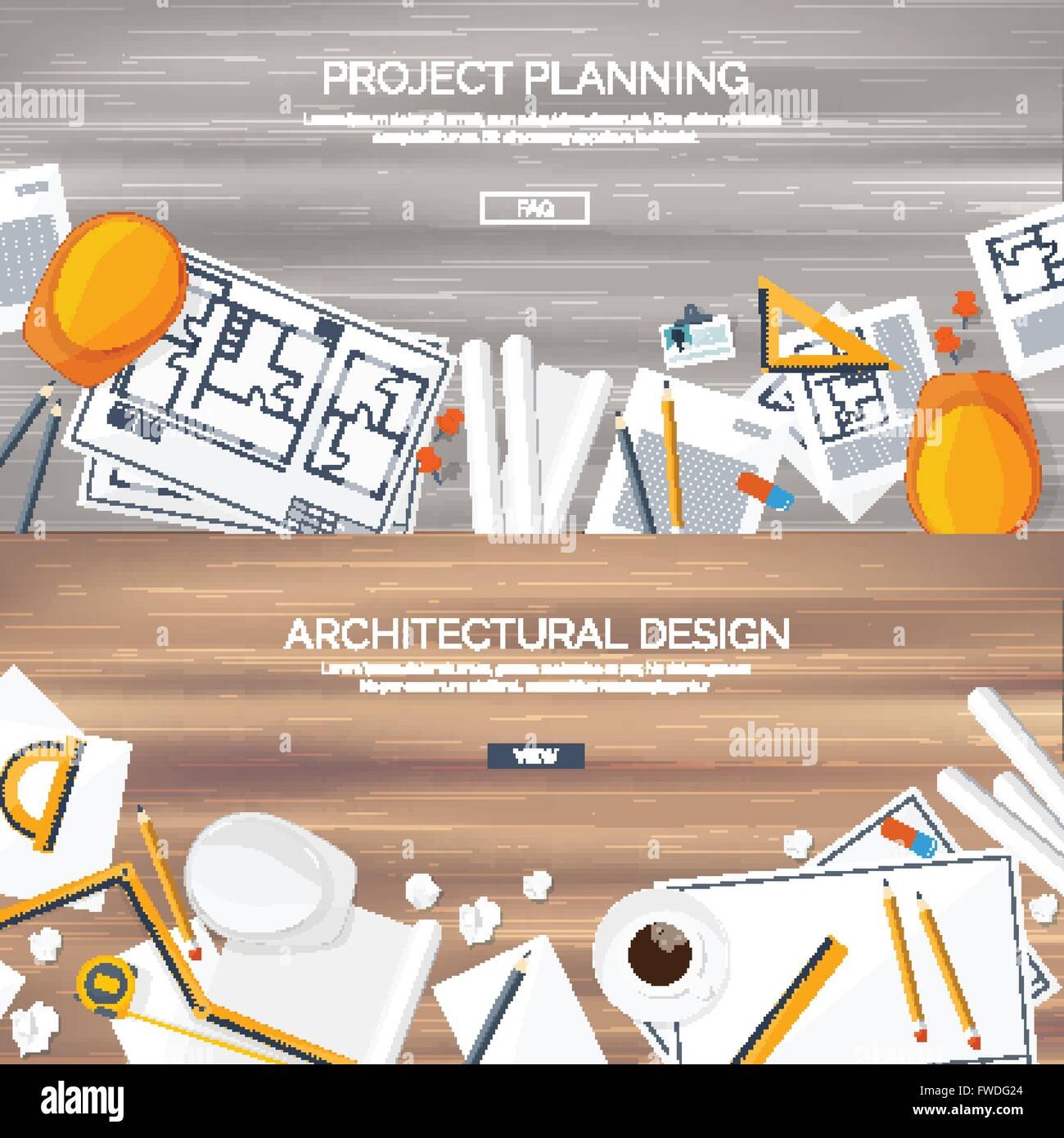 Stock Vector Vector Illustration Engineering And Architecture Drawing Construction Architectural Project Design Sketching Workspace With Tools