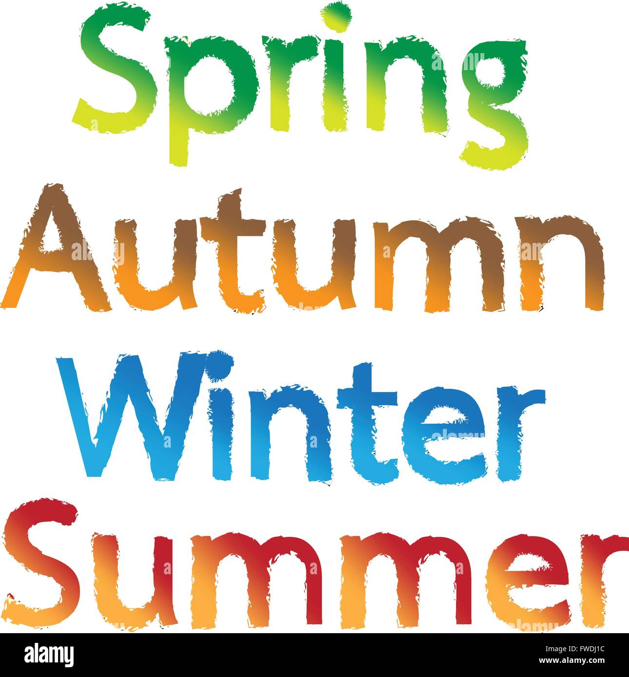 Another Word For Spring: Spring, Autumn, Winter, Summer Text Words Illustration