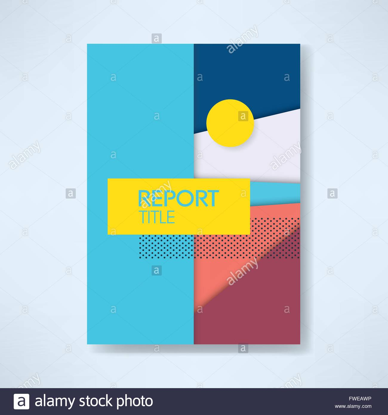 Annual business report cover template with modern material design ...