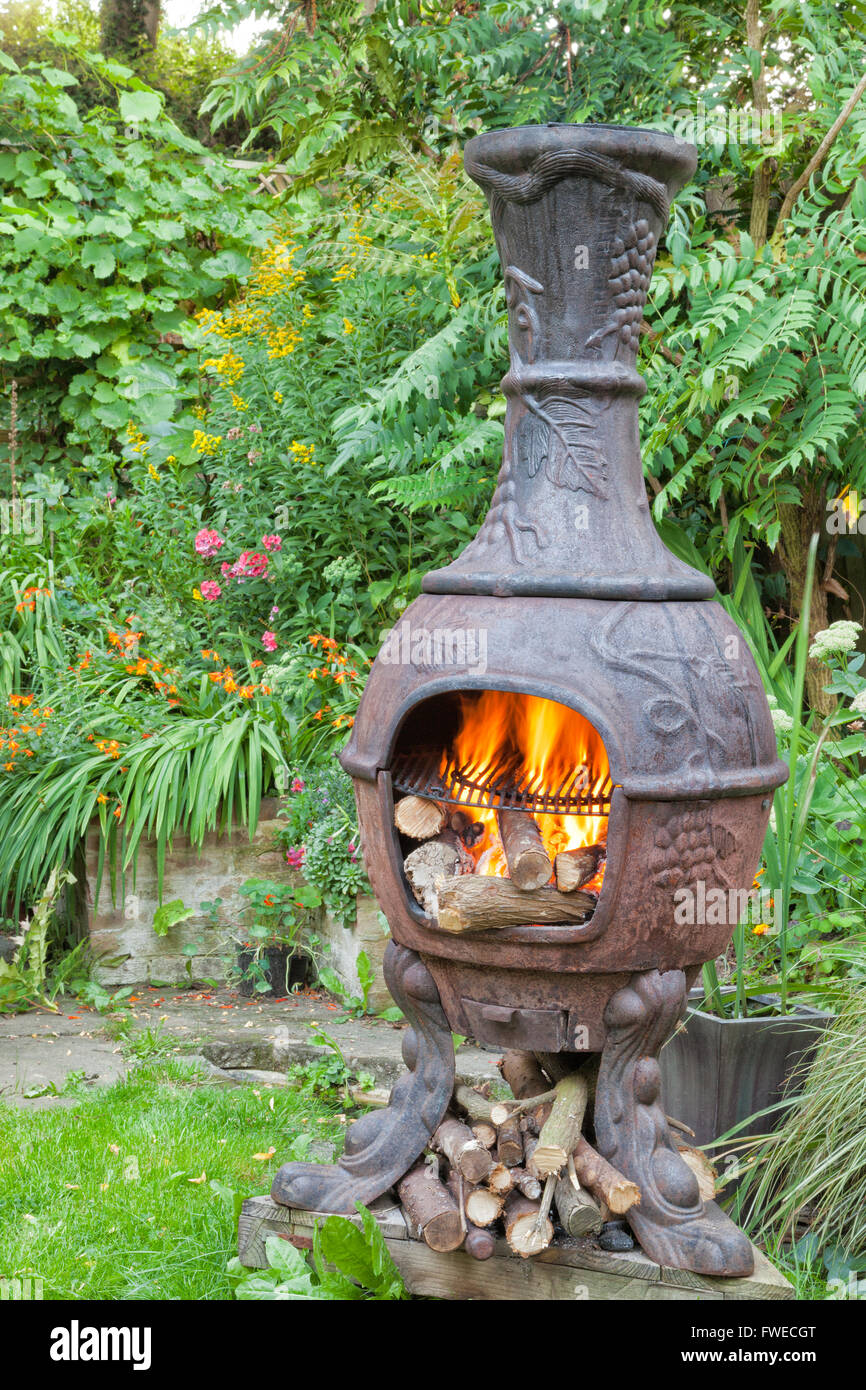 rustic cast iron wood burning stove mexican chiminea with flames