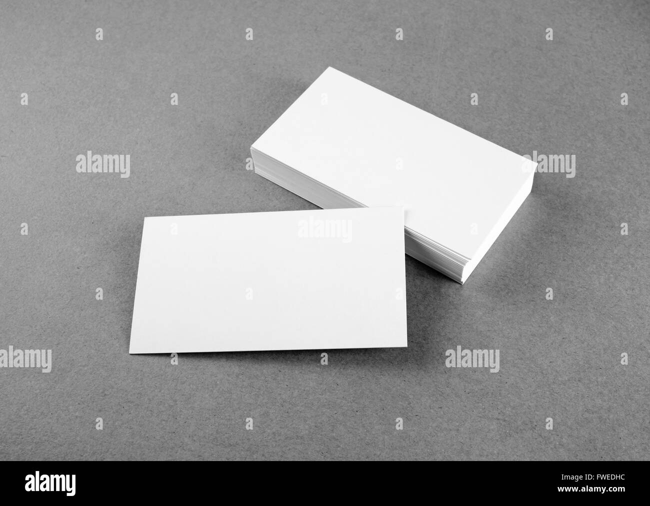 Blank Business Cards Template On Gray Background. Mockup For Branding  Identity For Designers. Black And White Image.