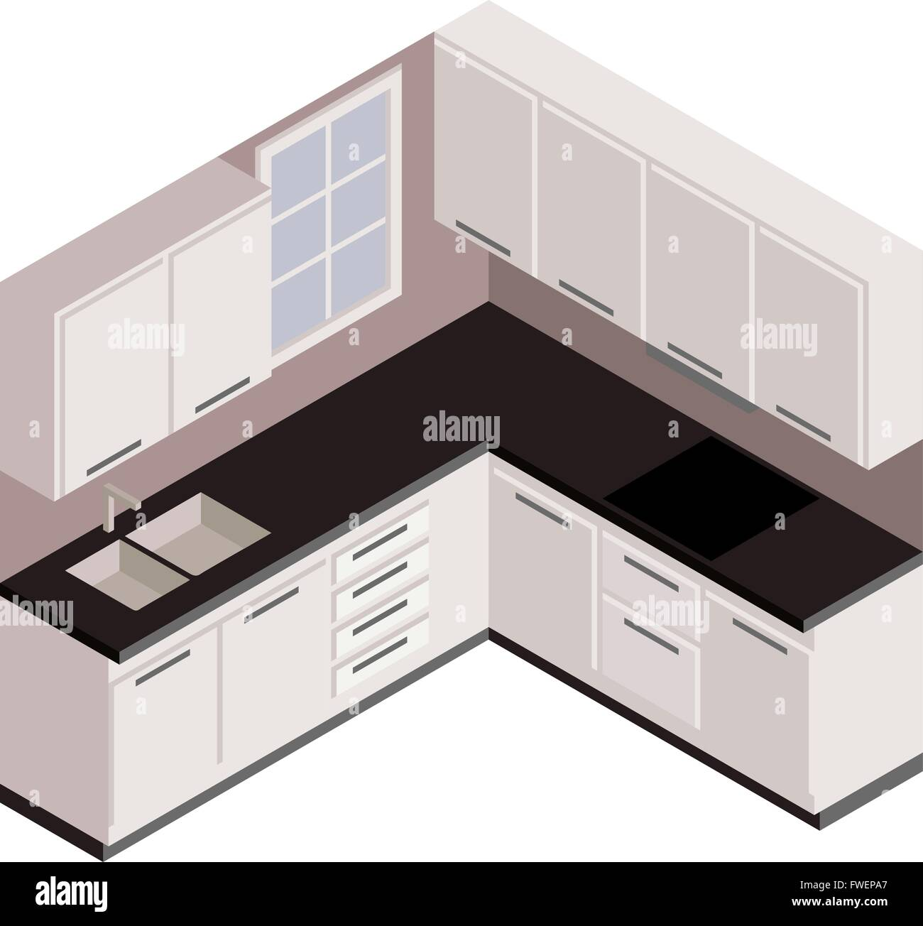 3d Sketch Small Kitchens And Islands: Isometric White Kitchen, Vector In 3D View Stock Vector