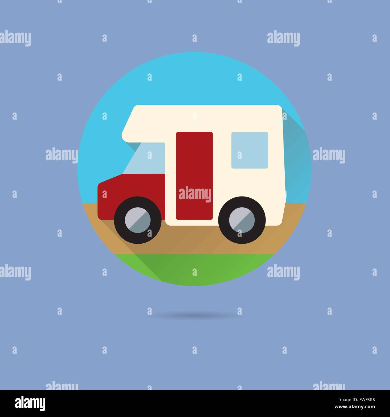 motor home flat design long shadow vector icon in circle on pastel