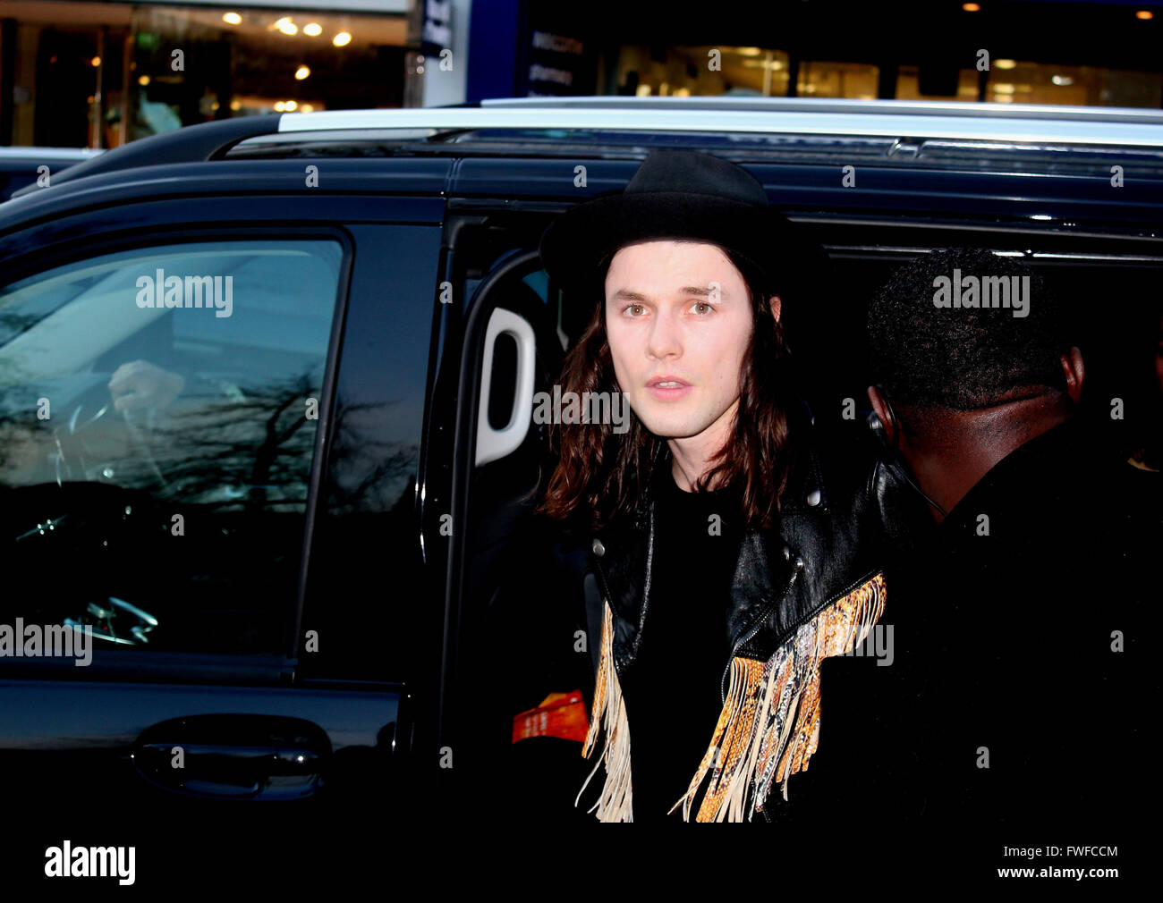 singer james bay arrives at the saatchi gallery to help unveil stock