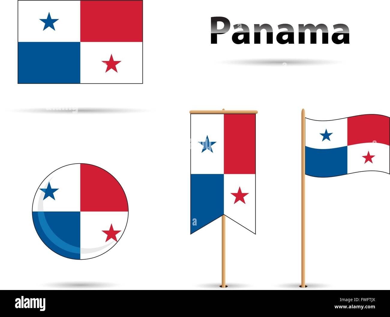 Set Of Panama Flags Red And Blue Stock Vector Art Illustration - Panama flags