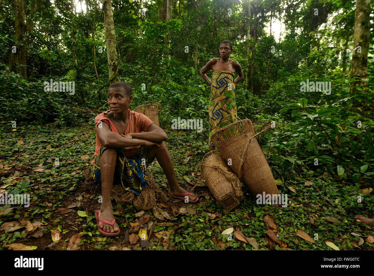 Bayaka Pygmies In The Equatorial Rainforest Central African Republic Africa
