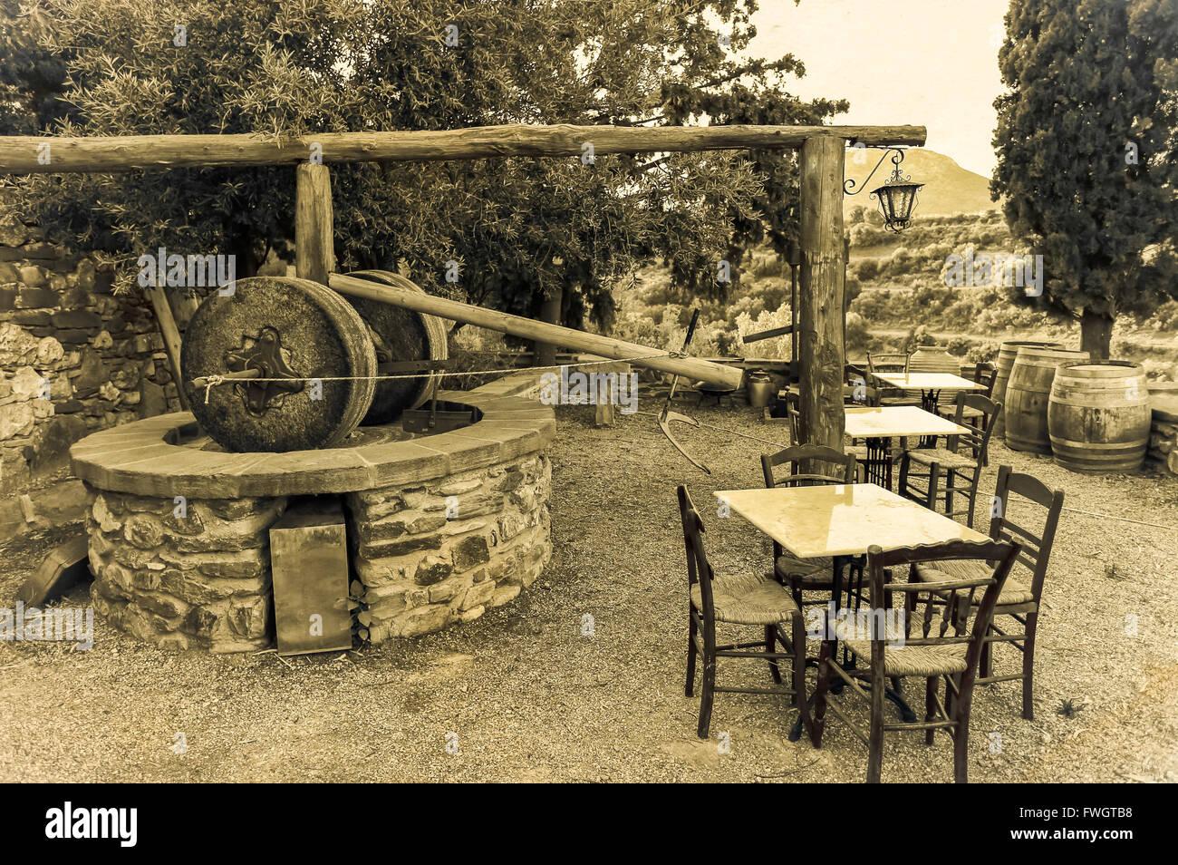 olive oil mill stone old skala 0127 kephalonia greece number 2612