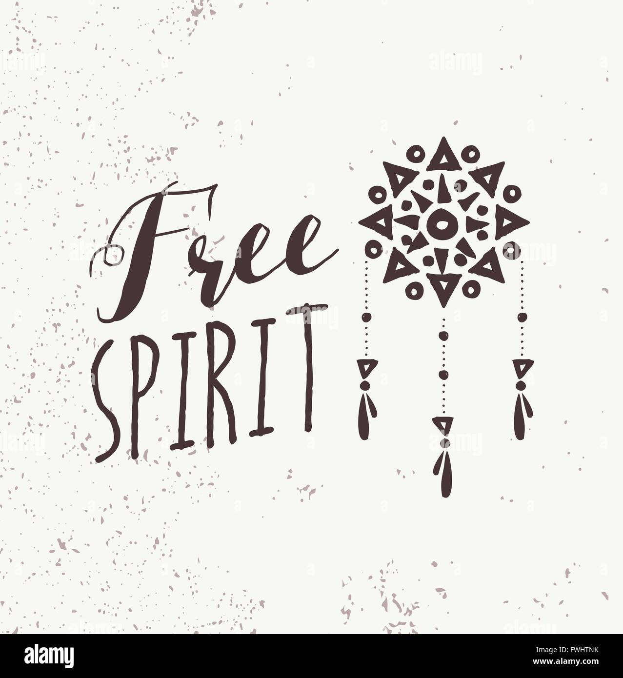 C Stock Quote: Be A Free Spirit Quote, Boho Black And White Illustration