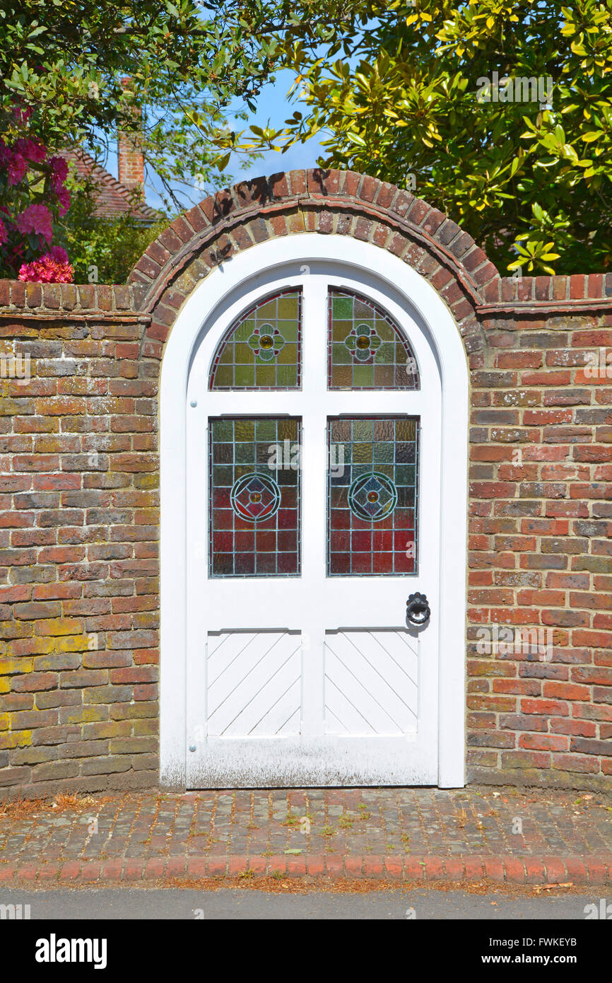 Round Top Door With Stained Glass Window Panes In External