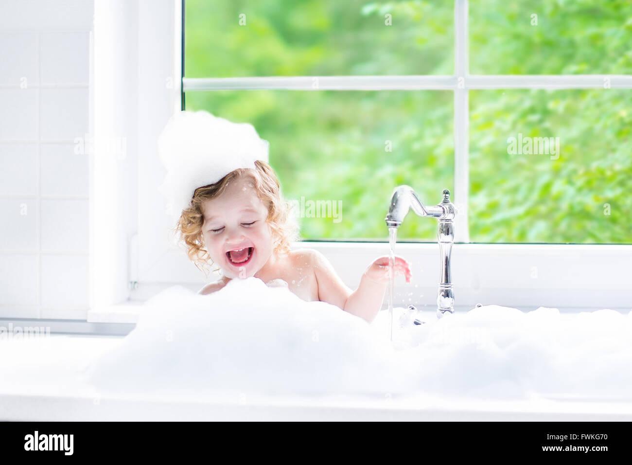 Child Taking Bath Little Baby In A Bath Tub Washing Hair