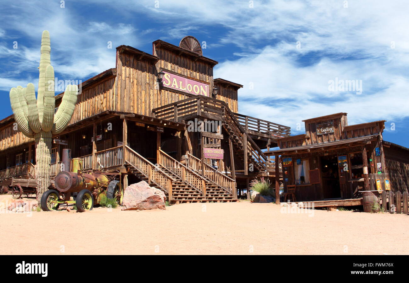 cowboy town old wild west desert cowboy town with cactus and saloon stock photo royalty free. Black Bedroom Furniture Sets. Home Design Ideas