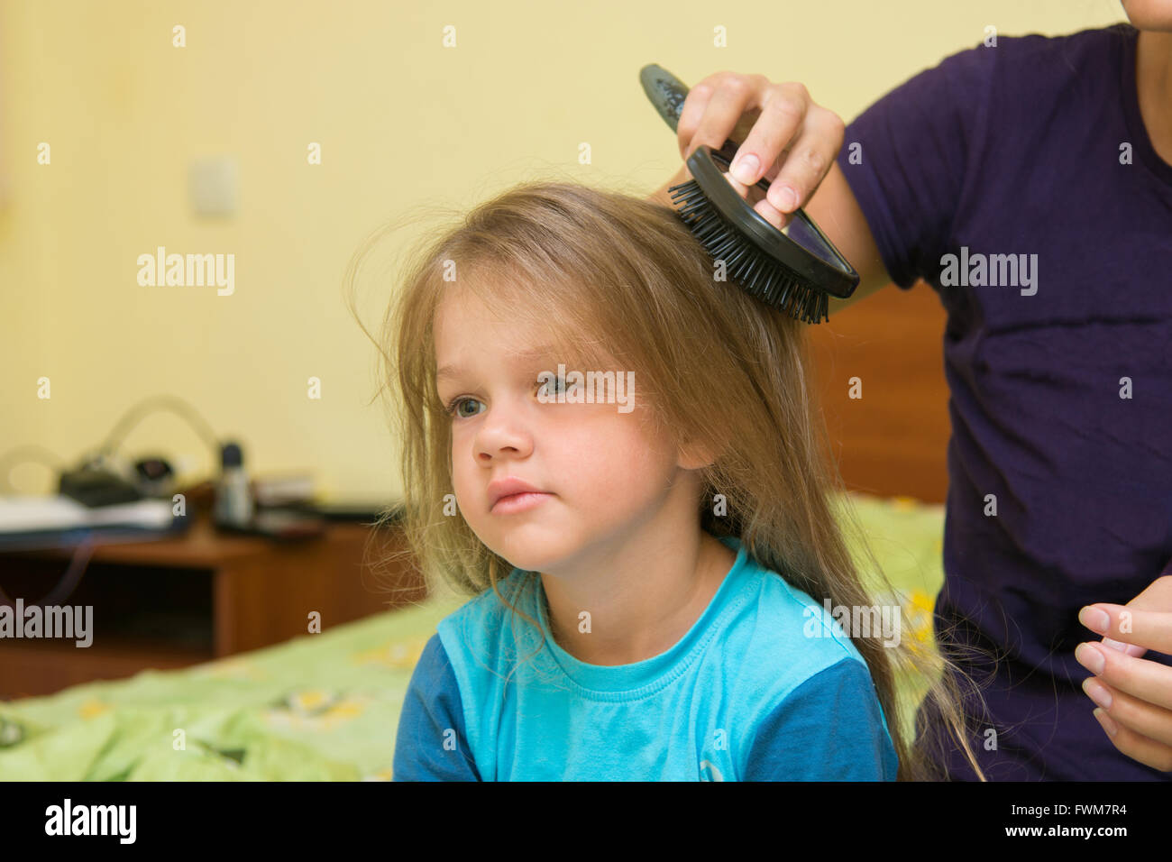 Little Girl Combing Her Long Hair Massage Comb Stock Photo