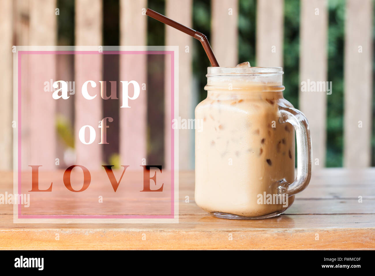 Inspirational Quote Of A Cup Of Love With Coffee Background