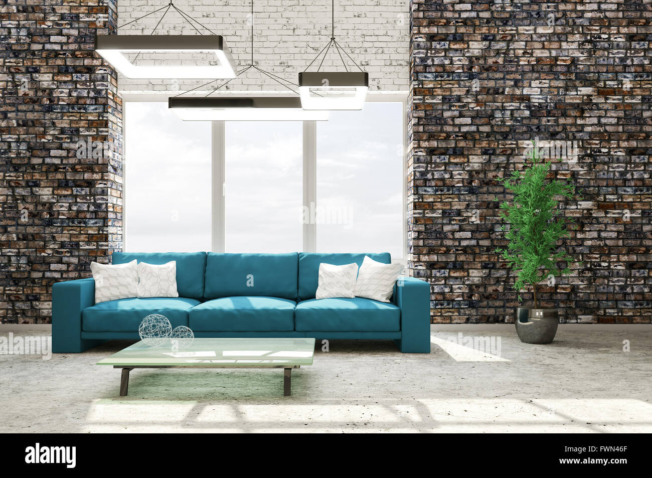 modern interior of living room with brick wall concrete floor cyan