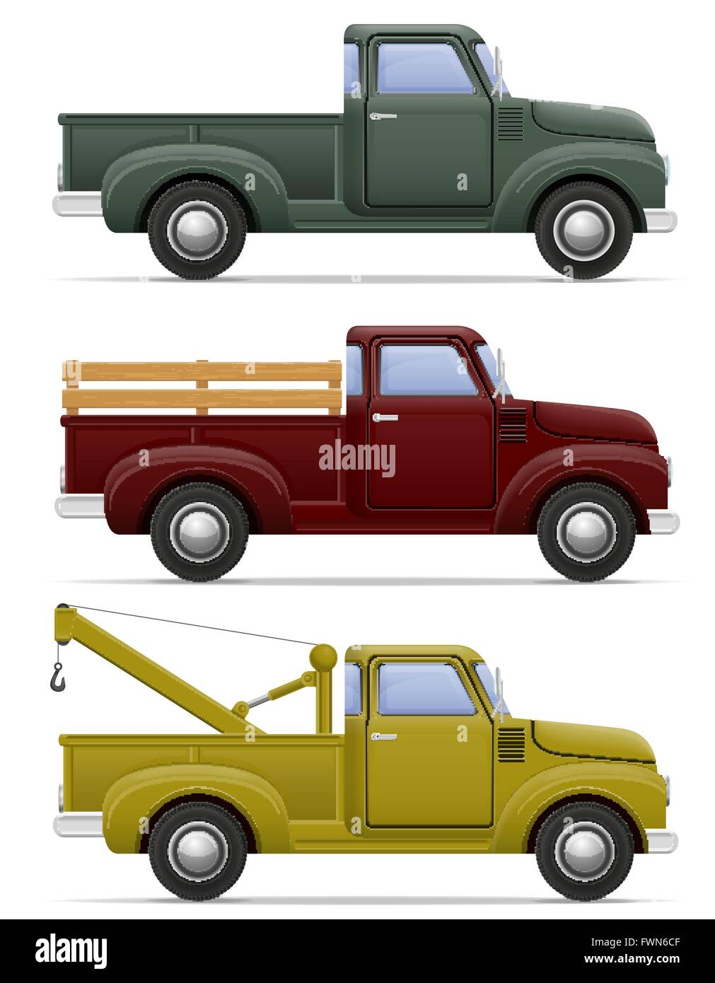 old retro car pickup vector illustration isolated on white ...