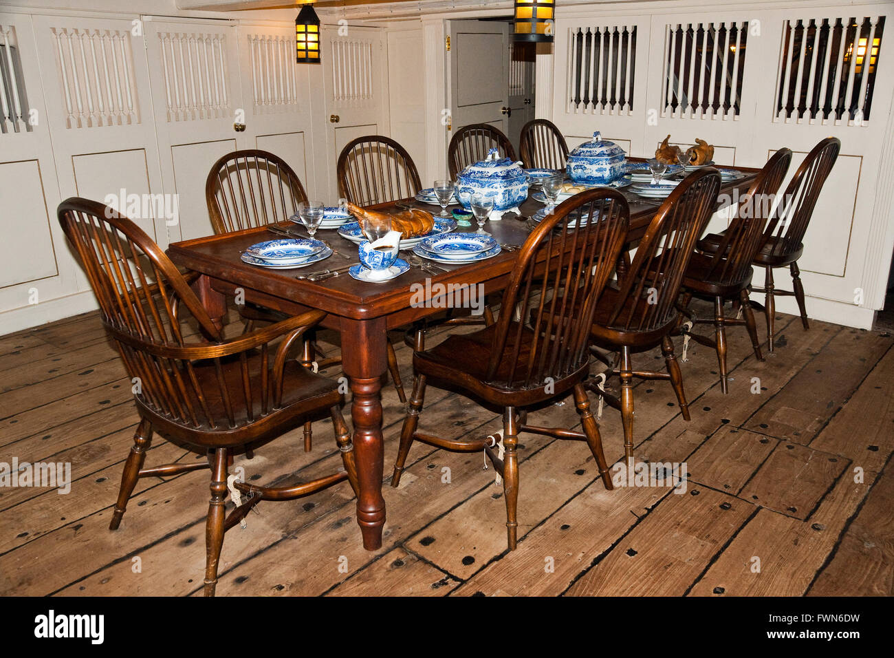 The Wardroom Table Set For Dinner Aboard HMS Trincomalee Nelson Era Frigate Restored And On Display In Hartlepool Co Durham