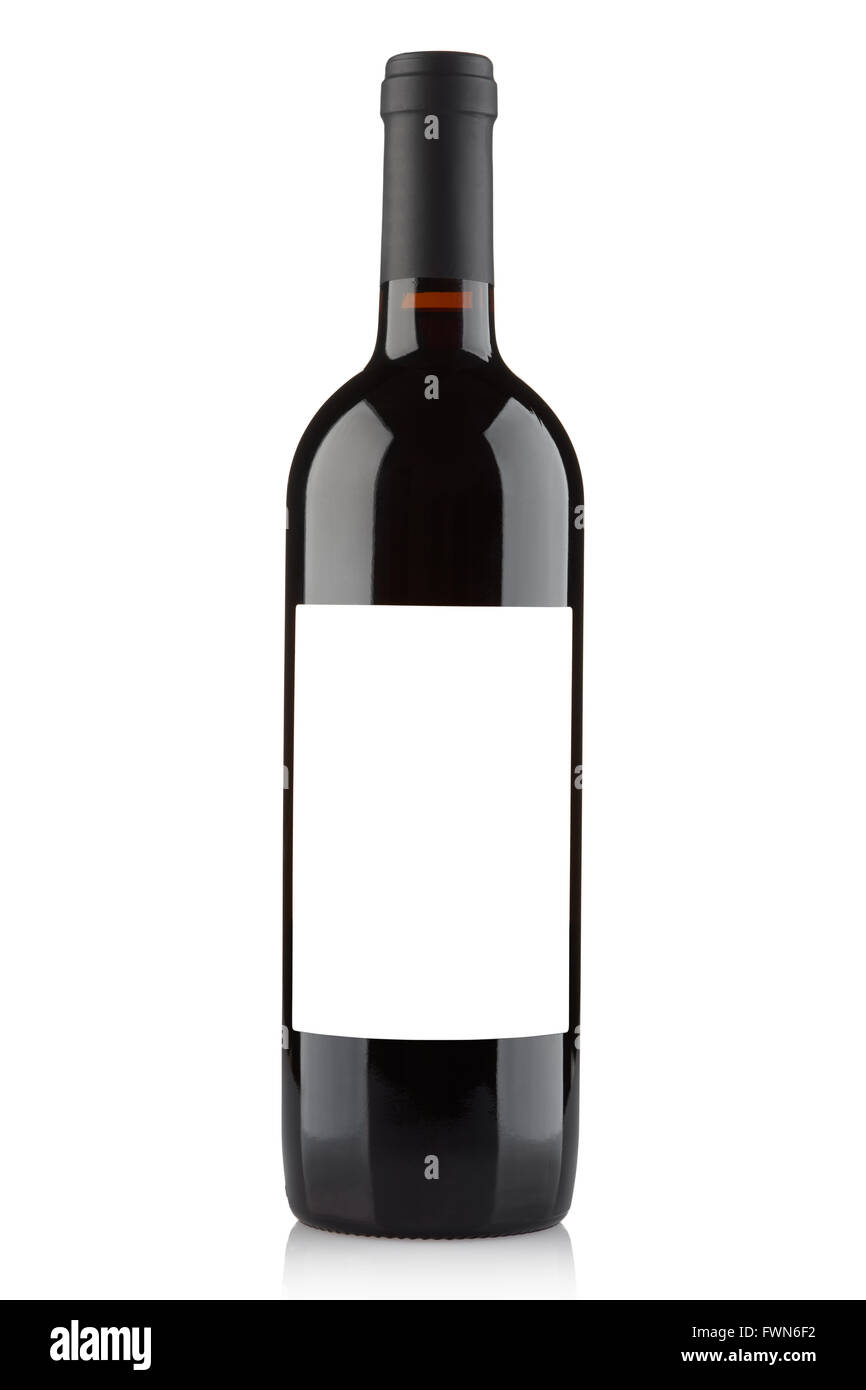 Red wine bottle with blank label on white, clipping path ...