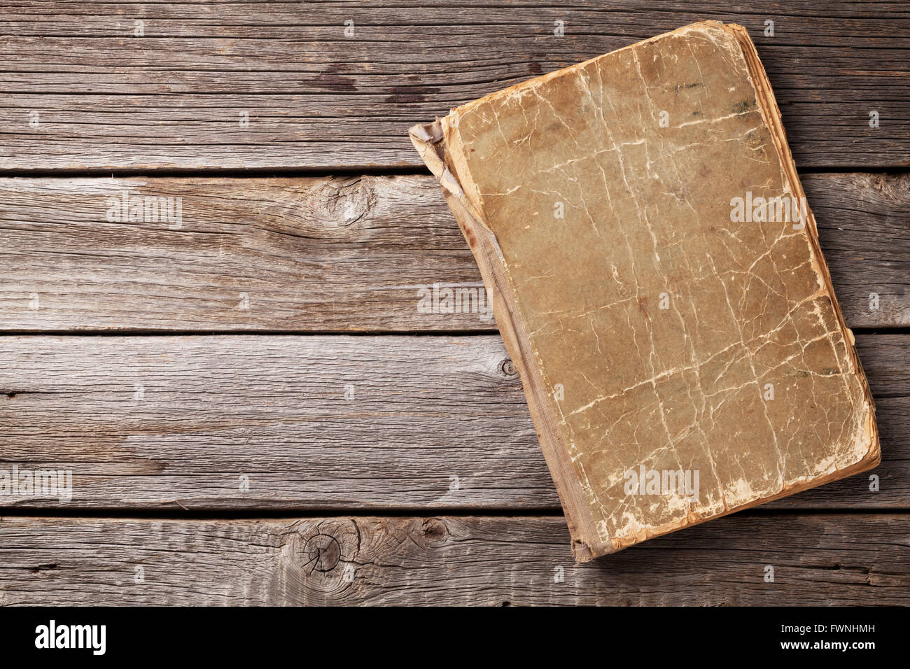 Vintage Book On Wooden Background Top View With Copy