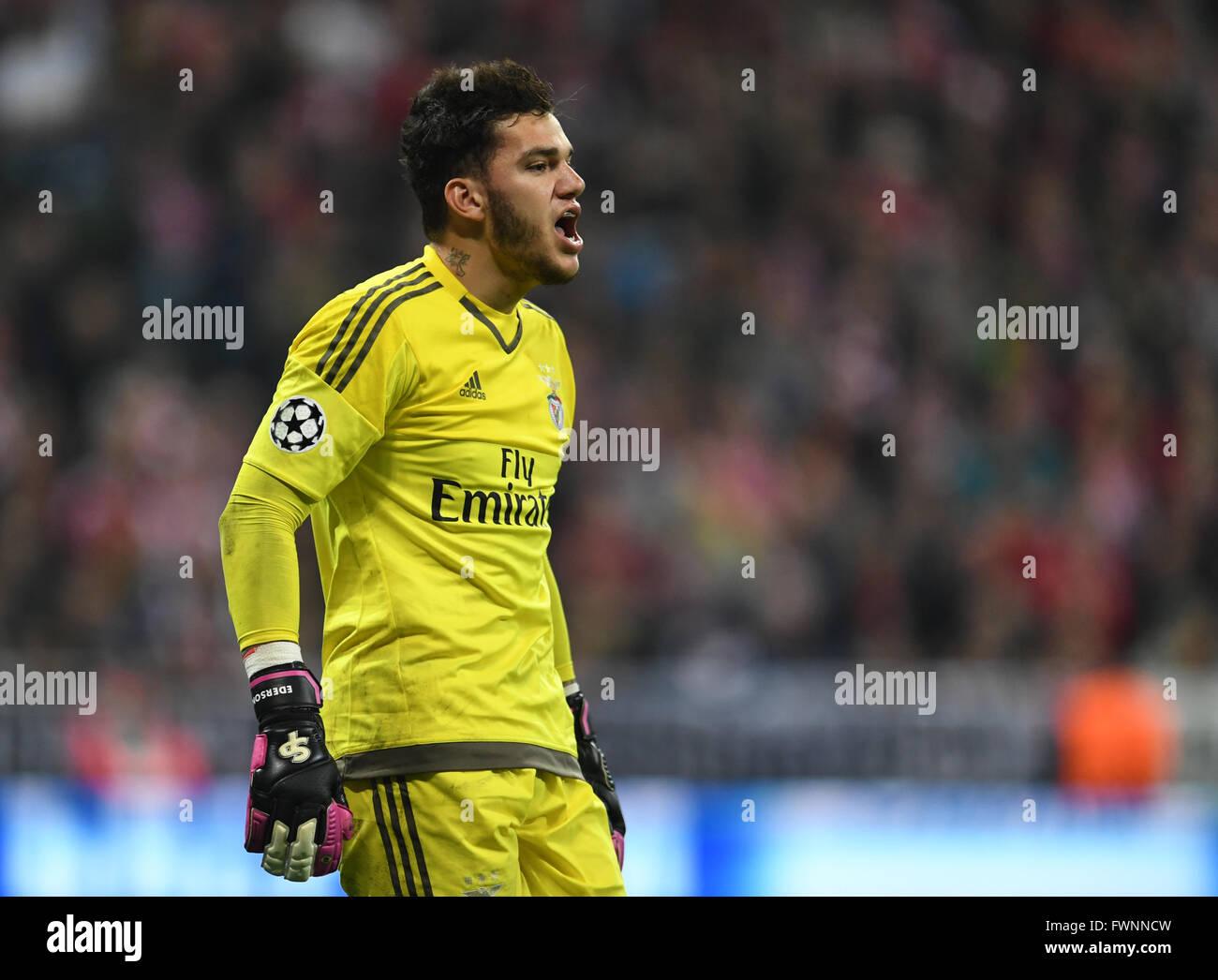 Munich Germany 5th Apr 2016 Benfica s goalkeeper Ederson