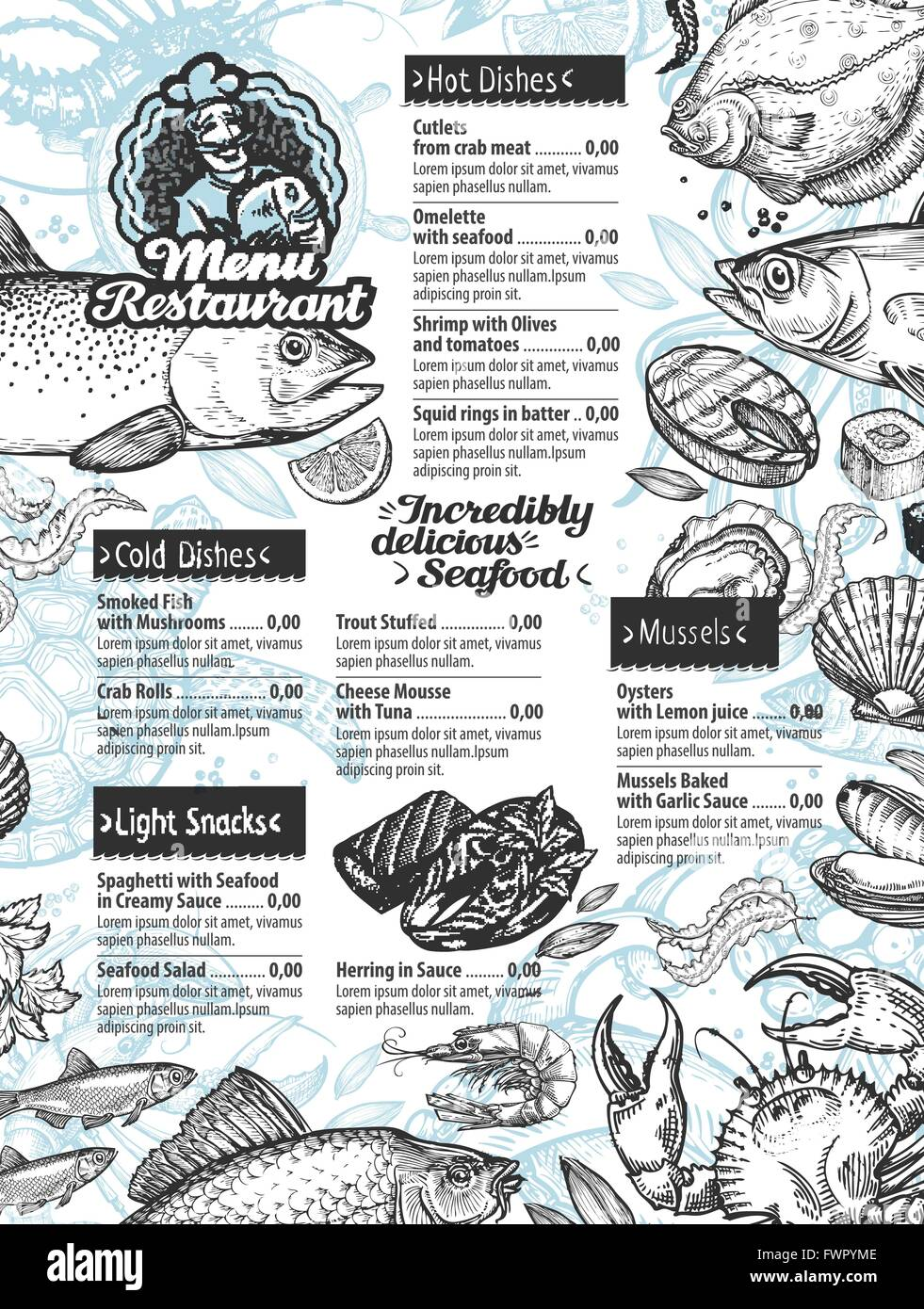 Menu seafood vector template brochure or flyer restaurant