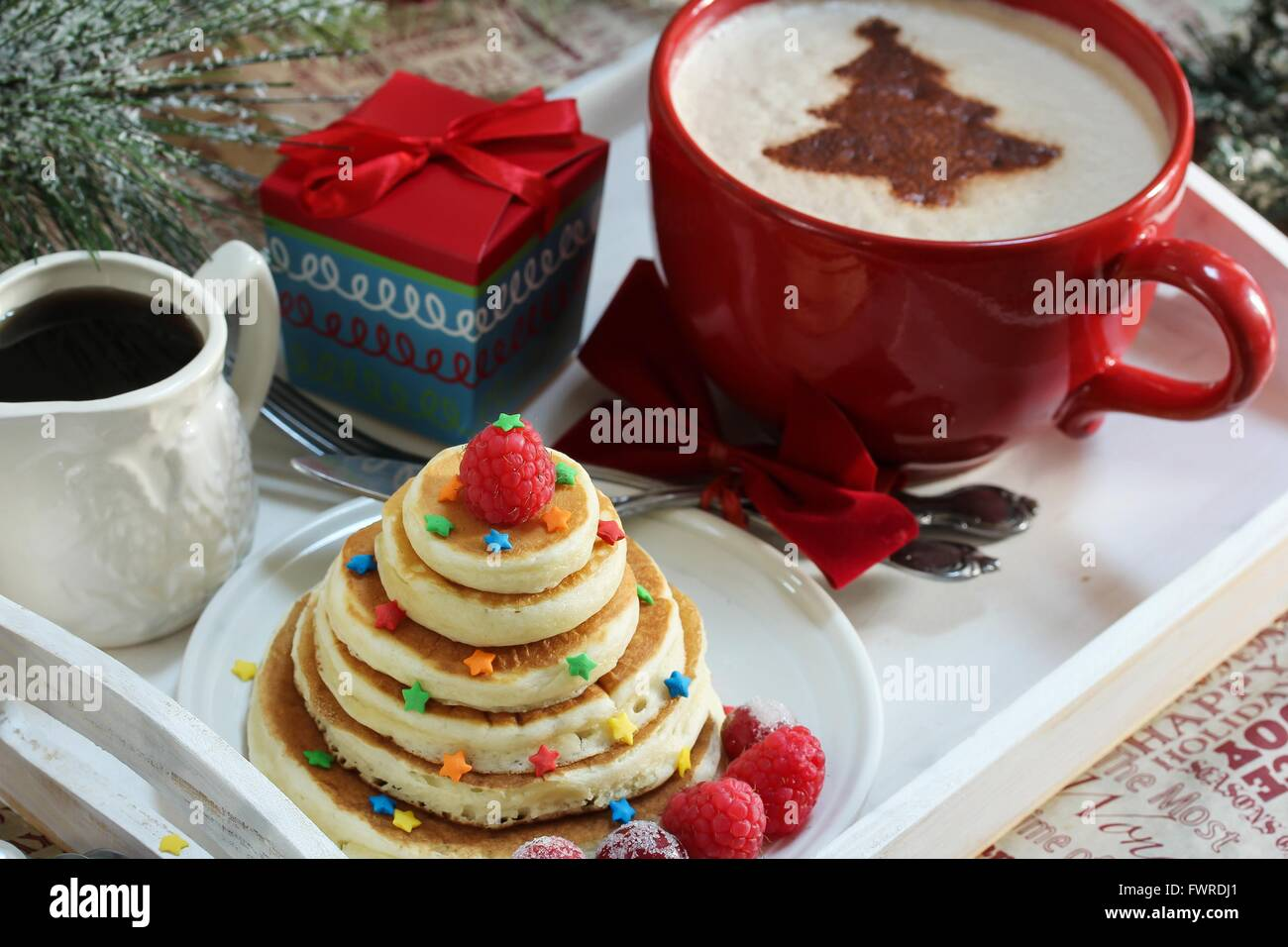 Christmas Breakfast On A Tray Pancakes And Coffee With