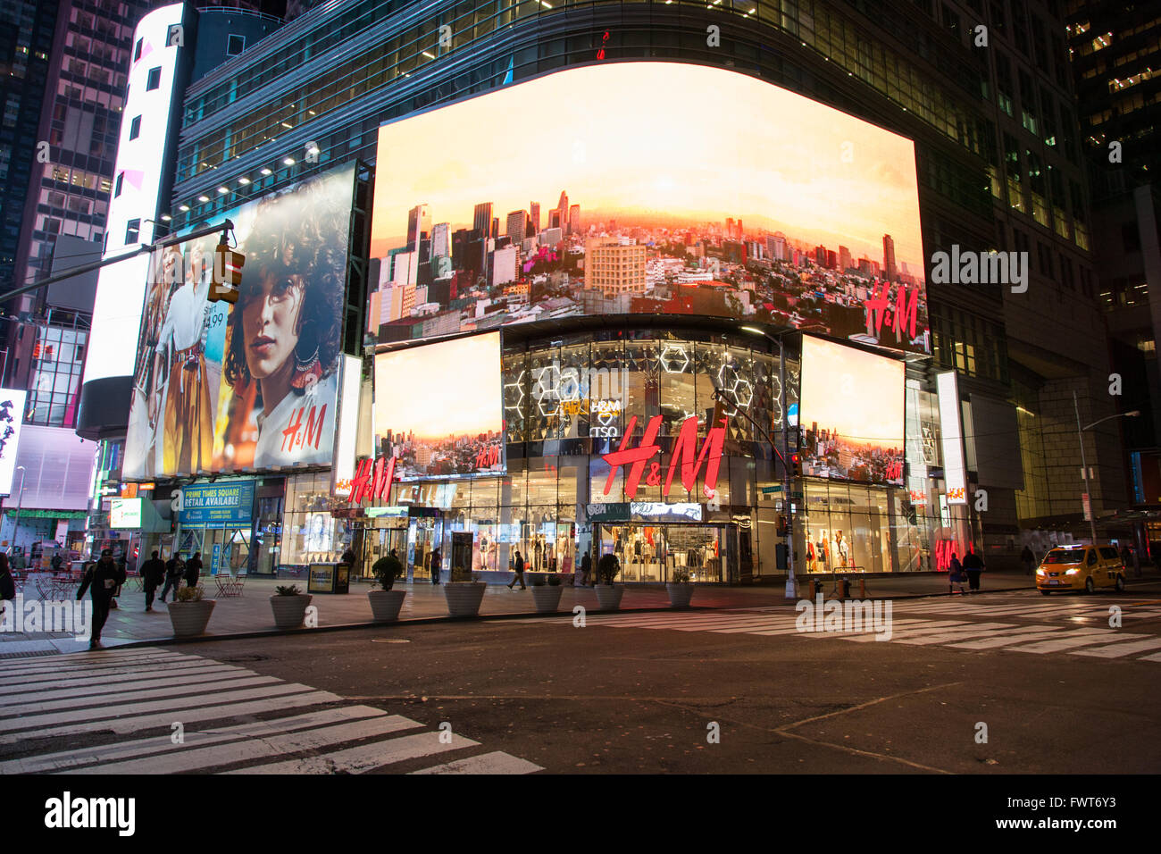 H&M store at night, Times Square, New York City, United ...