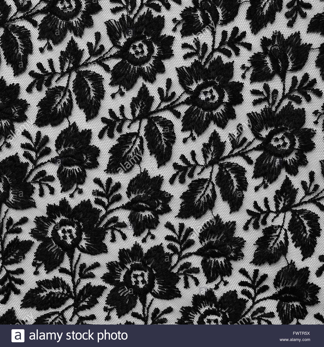 Black Lace Fabric Texture With Floral Design