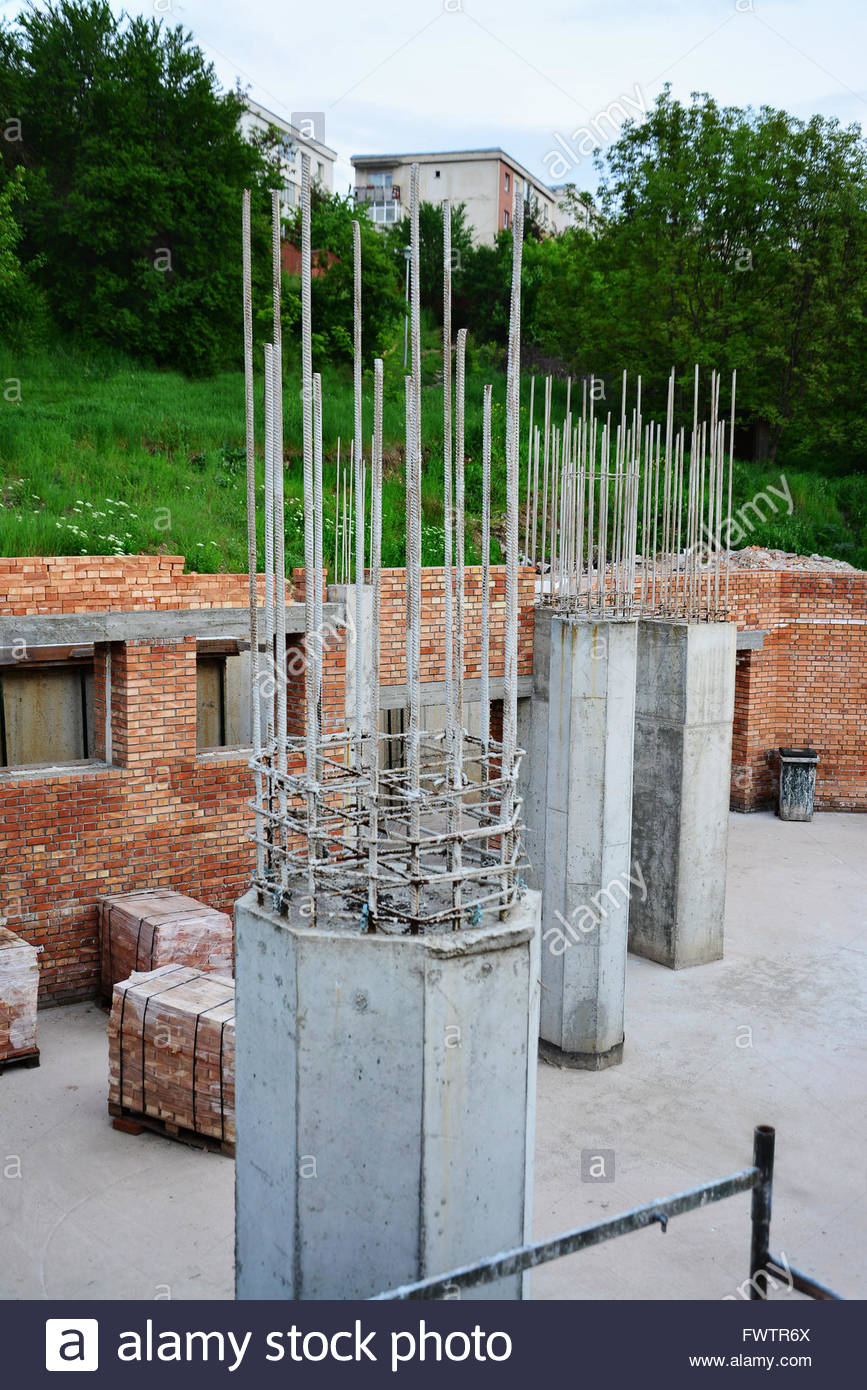 Pillar Concrete Buildings : Reinforced concrete pillars and red brick masonry on house