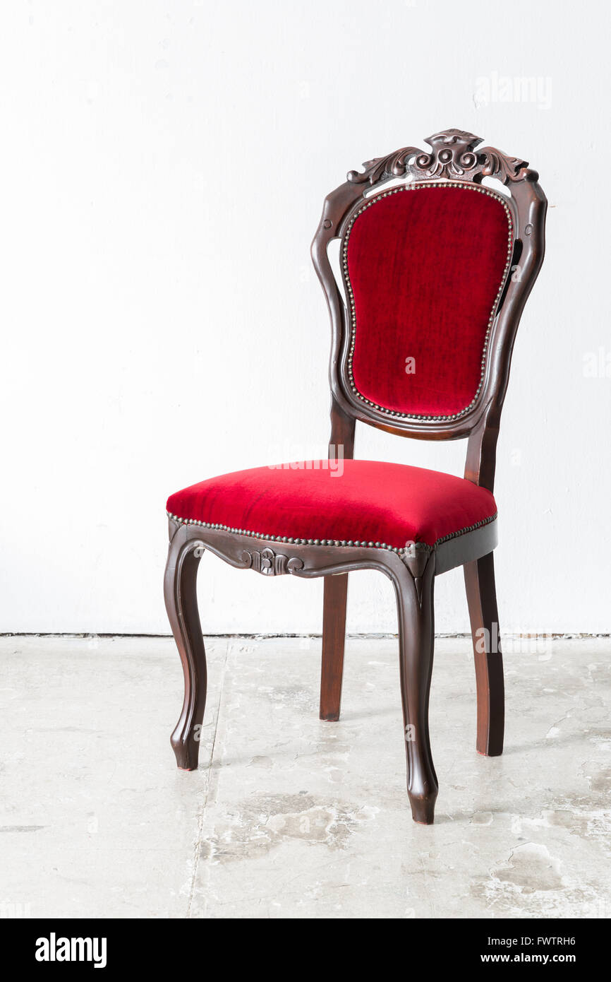 red chair contemporary style in vintage room stock photo royalty  - red chair contemporary style in vintage room