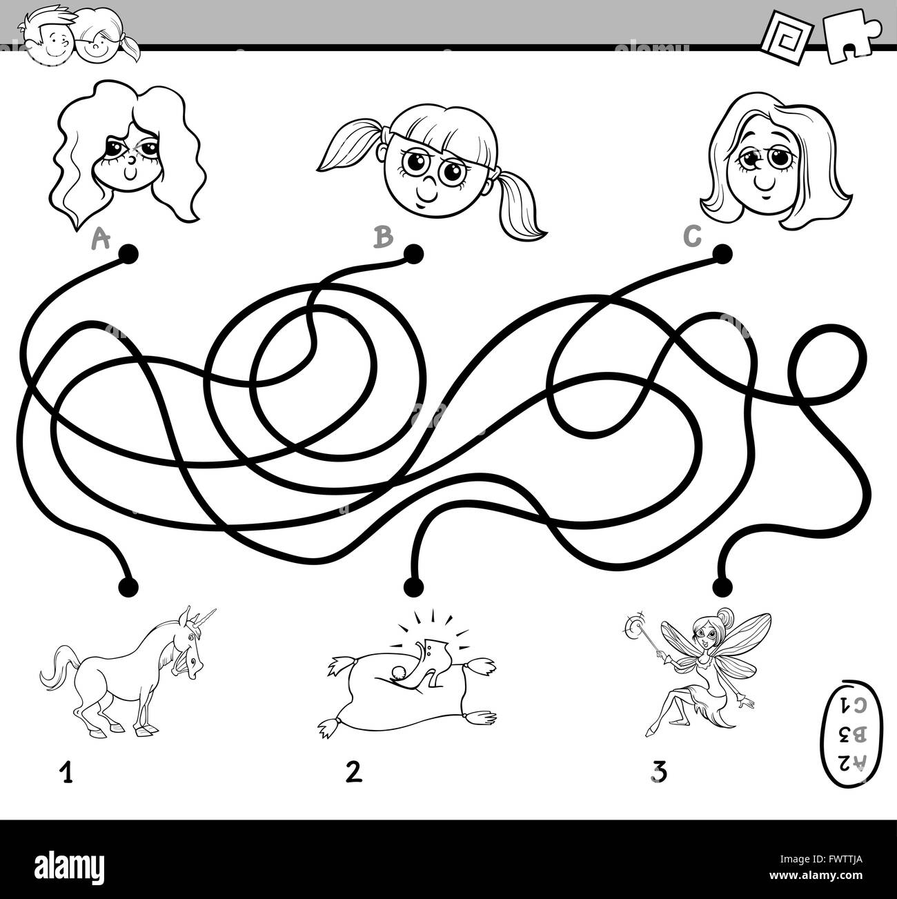 Childrens educational coloring activity book - Black And White Cartoon Illustration Of Educational Paths Or Maze Puzzle Activity For Preschool Children With Little Girls Color
