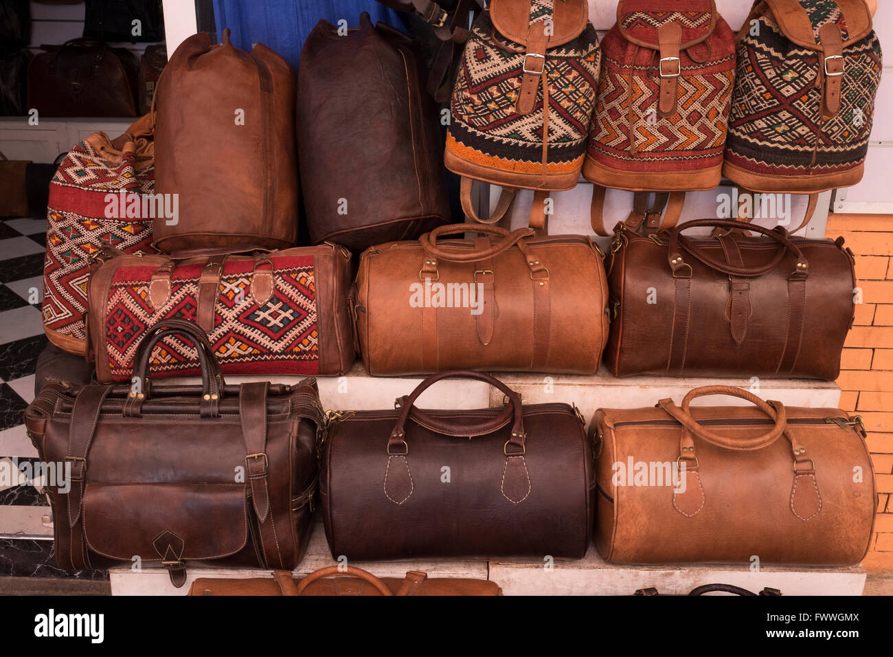 Leather bags for sale in the Medina in Marrakech, Morocco ...