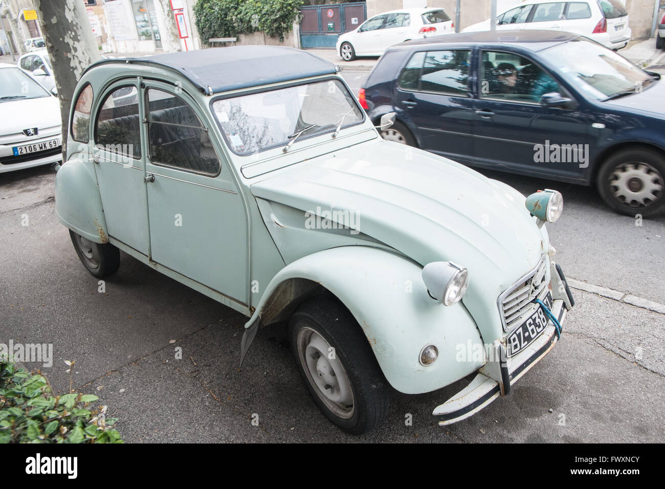 pale green coloured colored citroen 2cv narbonne aude south of stock photo royalty free image. Black Bedroom Furniture Sets. Home Design Ideas
