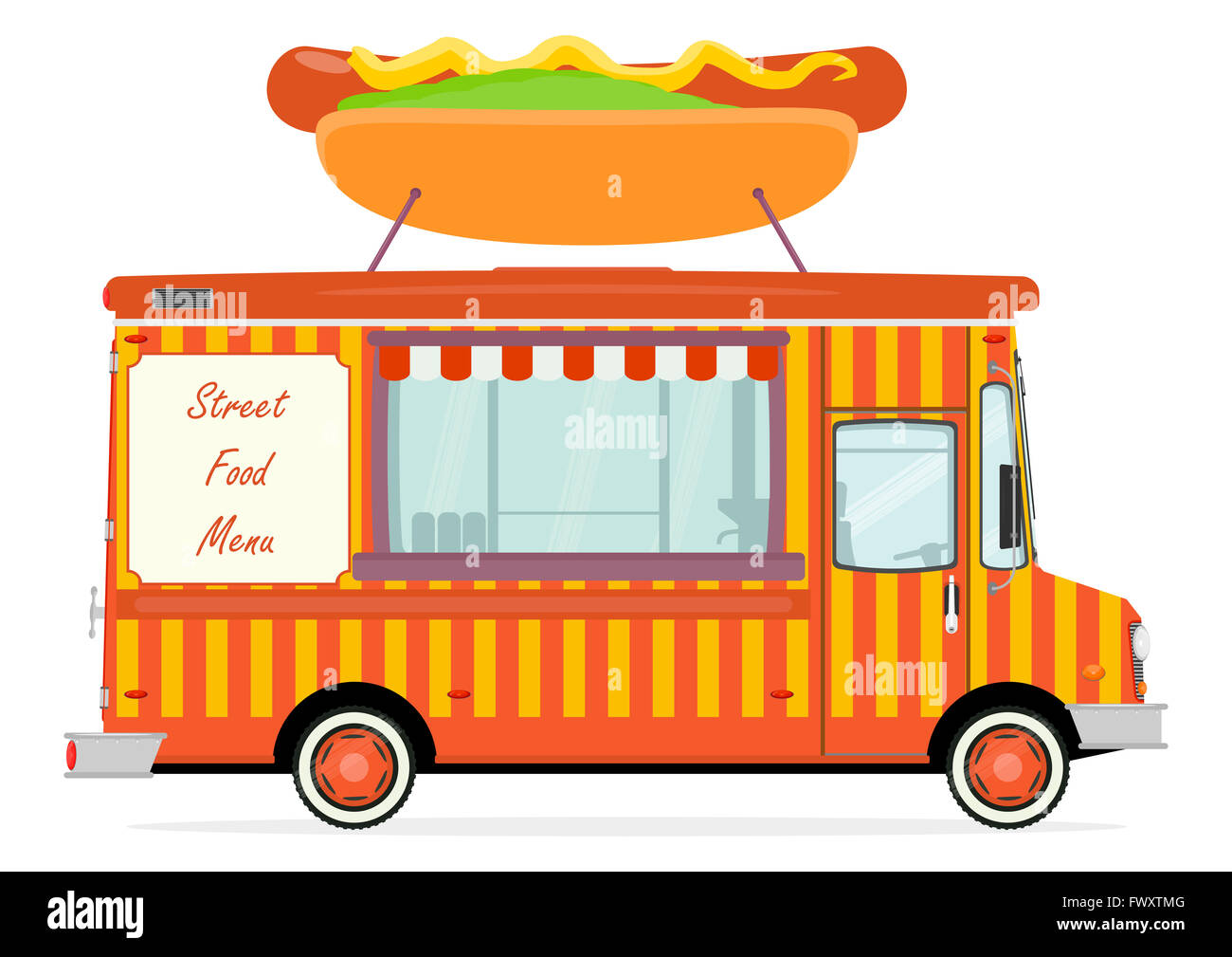 Cartoon Street Food Truck On A White Background