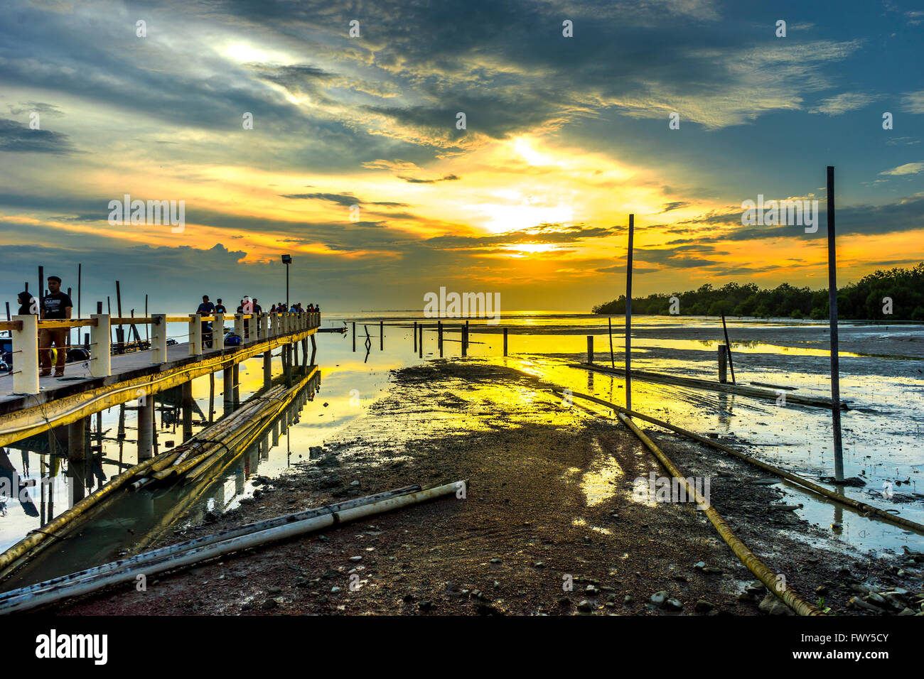 Johore Malaysia Dec 25 2016 Nice View Of Jetty With Sunset Stock Photo Royalty Free Image