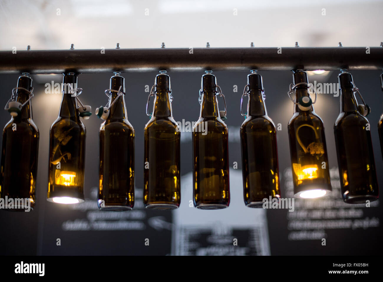 Bochum Germany 28th Feb 2016 A lamp made out of beer bottles hangs in the  Grillakademie. Promotionzubeh r Bochum   Emu Birds com