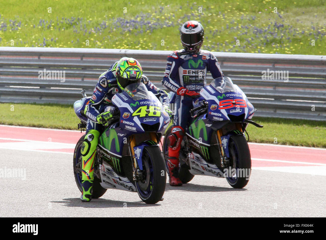 Austin, Texas, USA. 08th Apr, 2016. Valentino Rossi (L) of Italy and Stock Photo, Royalty Free ...