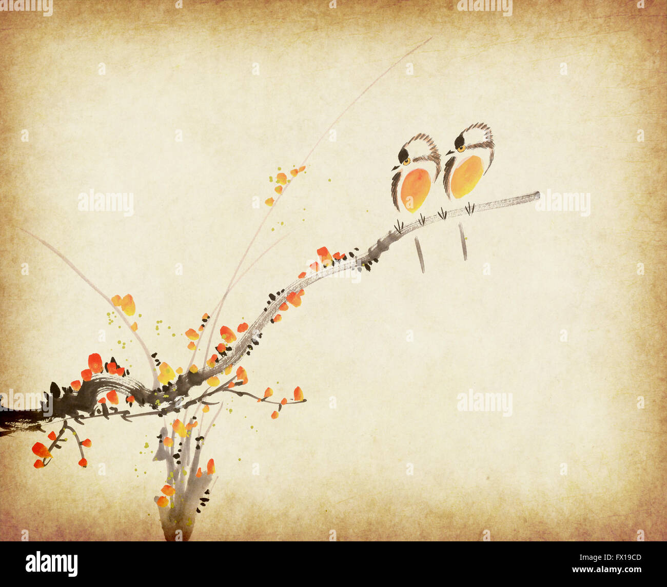 Traditional Chinese Painting Plum Bloom And Two Birds On