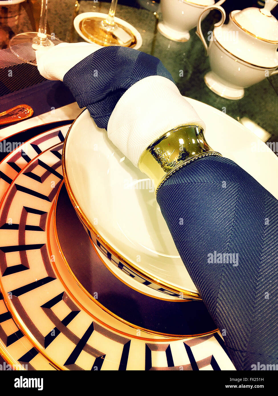 Elegant Dining Room Table Setting With Napkin Ring USA