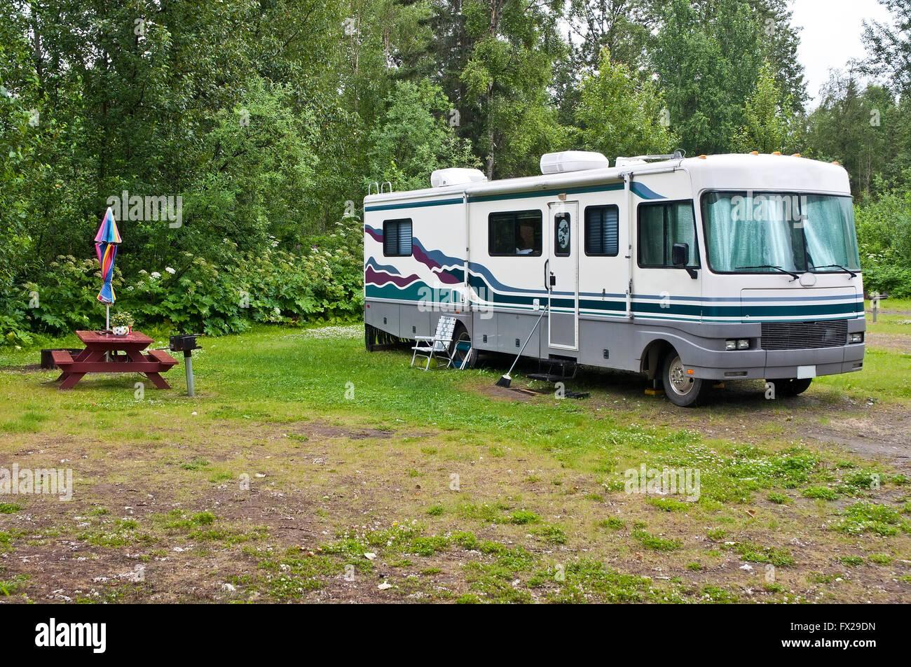 Rv Camping Site British Columbia Canada Stock Photo