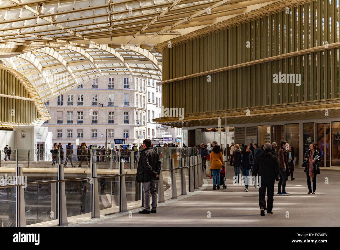 paris, france. 10th april, 2016. people walking under the new