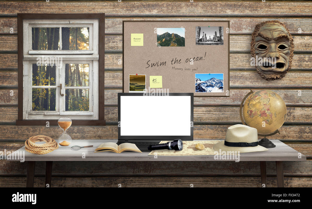Adventurer Office Desk With Laptop. Isolated, White Screen For Mockup.  Mask, Globe, Rope, Hourglass, Hat, Book On Desk And Woode