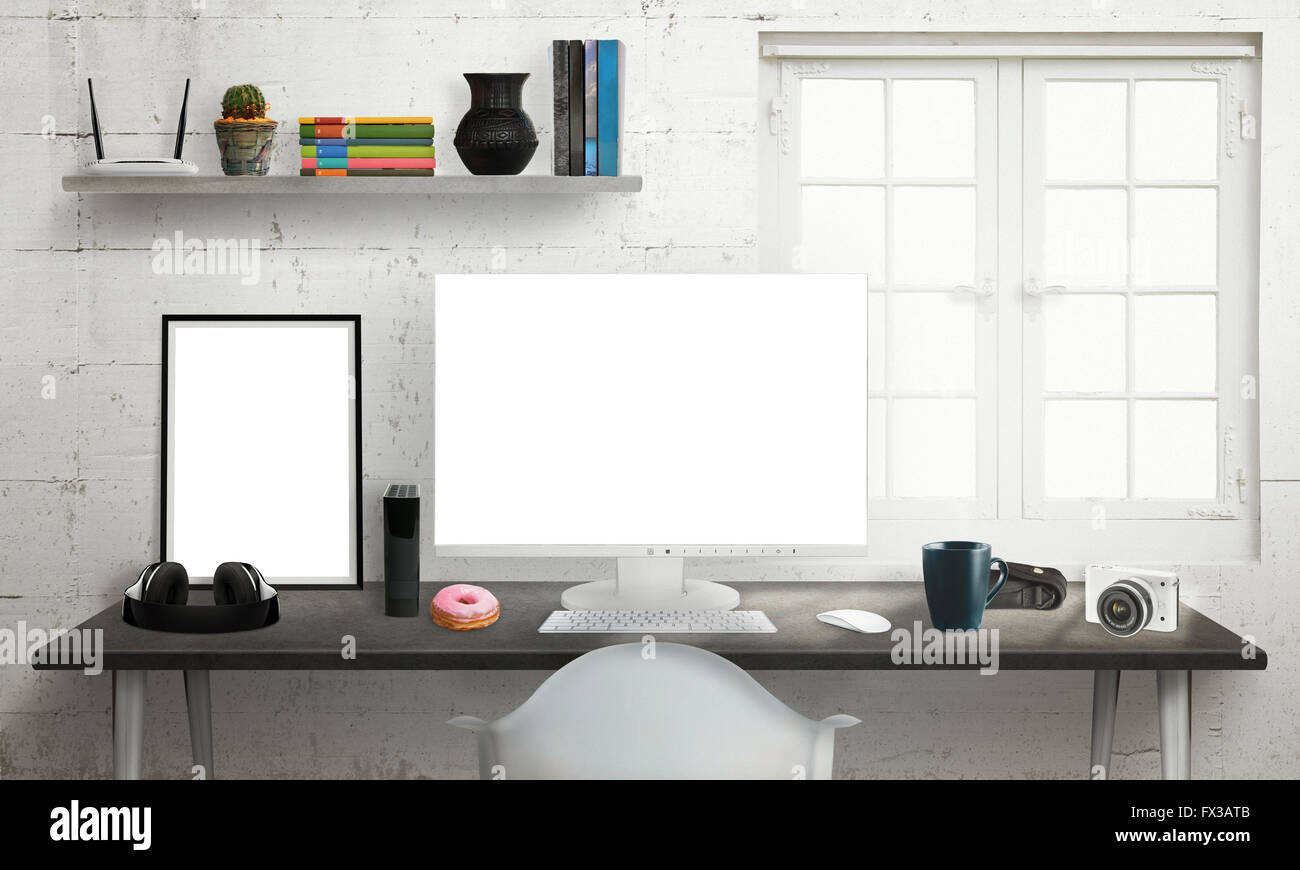 Computer Display On Office Desk Isolated White Screen For Mockup  # Bureau Moderne Pour Pc