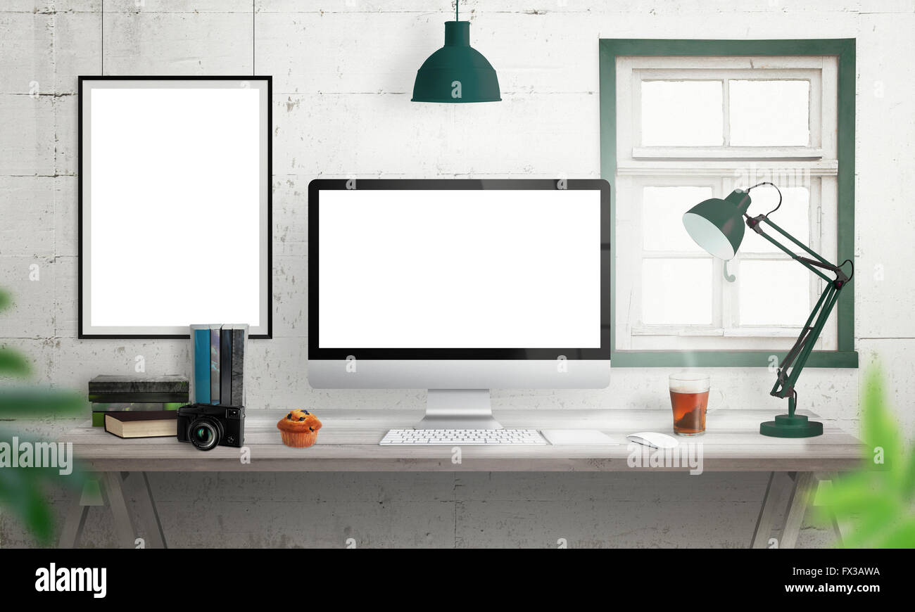 Computer Display On Office Desk Isolated White Screen