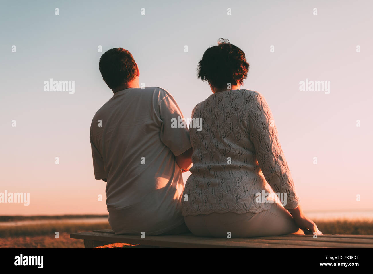 Back view a married couple a silhouette sitting on a bench Stock ... for bench silhouette back  45gtk