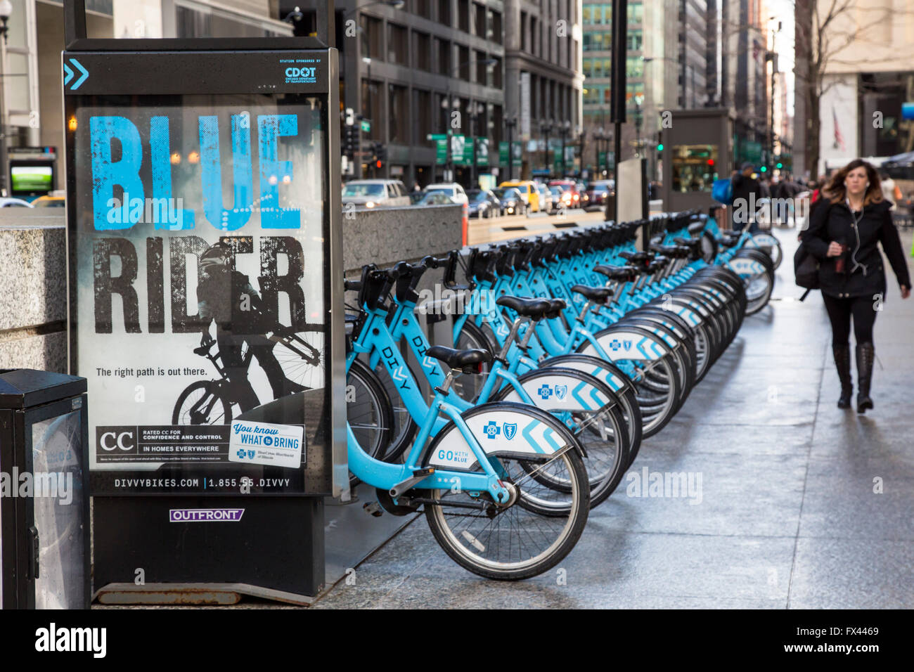 Chicago, Illinois - A station for Divvy Bikes, the Chicago bicycle ...